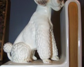 Pair of Vintage White Poodle Bookends