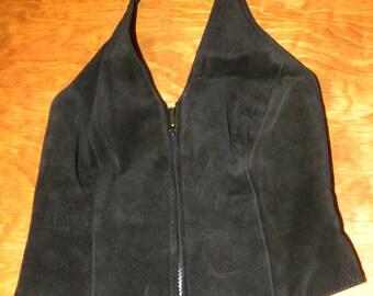 Black Leather Halter Top Vintage Wilson's Leather Size M