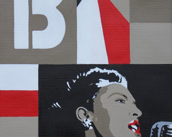 Billie Holiday Limited Edition Giclee Print by Anna-Marie Bush from an edition of 250 small size (A5) 17.8 × 24 cm
