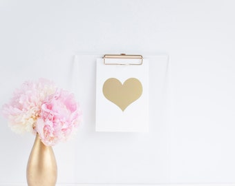 White & Gold Foil Heart 5x7 Print