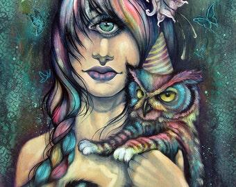 Life is But a Dream - strange friends, large print, 11x14, fine art print, art by phresha, meowl, cyclops, hybrid animals, surreal art