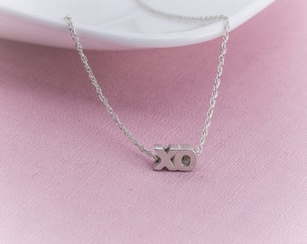 Sterling Silver XO  Necklace,  XO Pendant, Sterling Silver,   Sweetheart Necklace, Hug and Kiss Motif,  bri