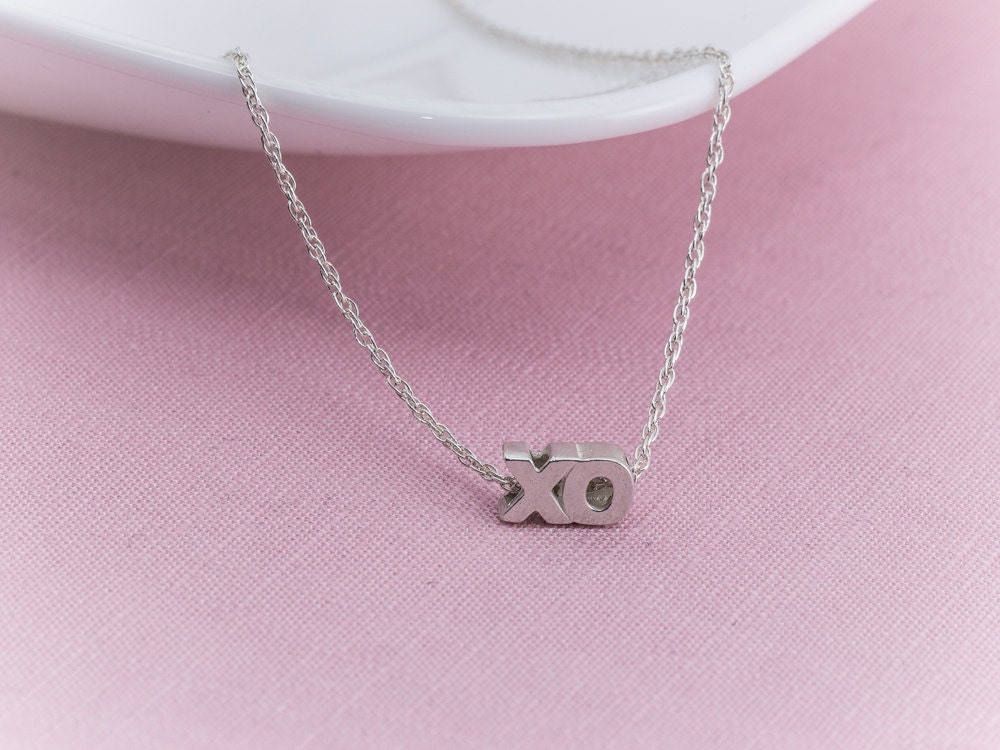 sterling silver xo necklace xo pendant sterling silver