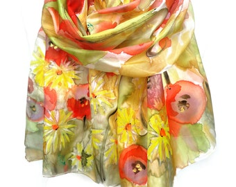 Hand Painted Scarf. Genuine Art on Silk. Woman Birthday Gift. Daisies Poppies Silk Scarf. Floral Silk Scarf Yellow Red 18x71in MADE to ORDER