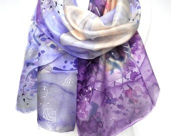Hand Painted Shawl. Birds Forest Silk Scarf. Blue Violet Dream. Woman Anniversary Birthday Gift. Wedding Bridal 18x71in MADE to ORDER