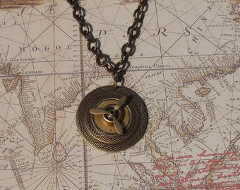 Steampunk Necklace with Spinning Propellor, Aviation, Flight, Pilot,