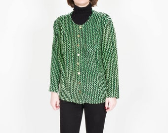 Vintage Funky Green Jacket / Club Kid Green Jacket / 1980s 80s Statement / Green Black Gold / Avant Garde Cardigan / Womens Size Medium