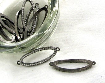 Oval Gunmetal and Crystal Rhinestone connector - Beads Jewelry Supplies Crafting Supplies Jewelry Making