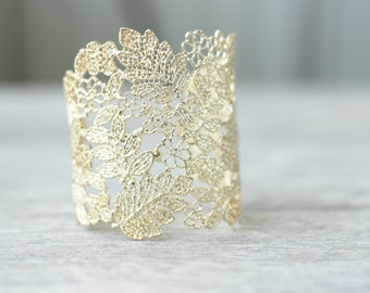 Lace Bridal Cuff Bracelet, Gold Lace Floral Bridal Cuff Bracelet, Gold Filigree Cuff Bracelet