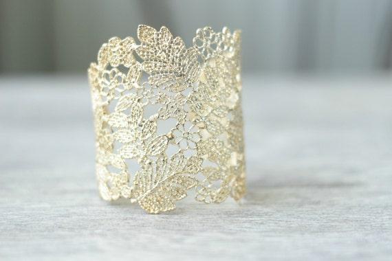gold lace cuff bracelet