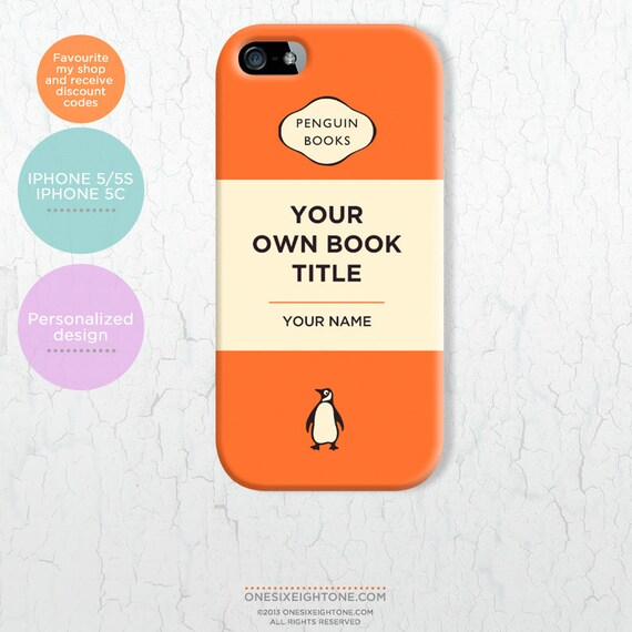 Personalized Penguin Book Cover for iPhone 5/ 5s/ 5c. Classic paperback design add your own title and author name FP043