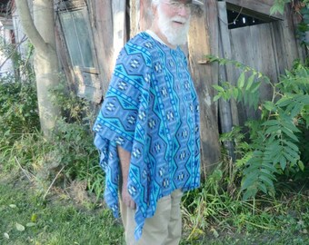 Native American Print Fleece Poncho in Blue Shades  Clint Eastwood Style
