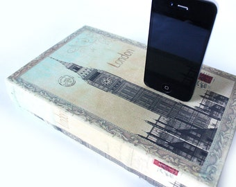London Linen - iPhone 6, iPhone 5 Charger or Samsung Galaxy S4 Dock - Travel Hollow Book Box Charger, Docking Station, Desk Accessory
