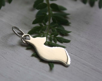 The little prince's fox, sterling silver fox pendant