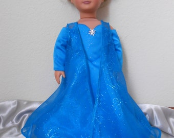Frozen Queen Elsa dress for American Girl doll and 18 inch dolls
