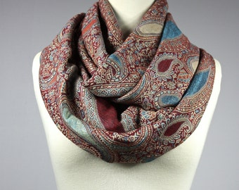Red Turquoise  paisley Infinity Scarf  pashmina