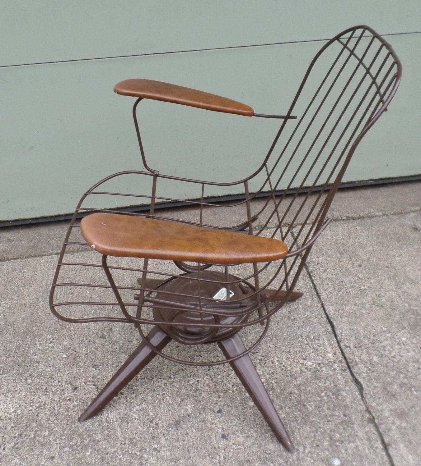 vintage mid century modern eames era wire chair brown. Black Bedroom Furniture Sets. Home Design Ideas