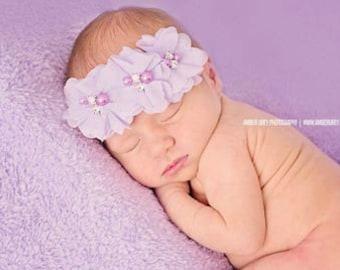 Lavender Baby Headband, Infant Headband, Newborn Headband - Lavender Headband Chiffon and Pearls Flower Headband