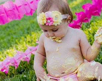 Light Yellow and Pink Baby Headband, Infant Headband, Newborn Headband, Baby Headband, Toddler Headband, Pink Lemonade