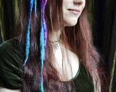 Faery MINI ELFLOCKS Clip-in Dreads Streak in in Pink/Purple/Blue/Green Dreadlocks Alt Fashion Tribal Dance Cosplay Goth LARP