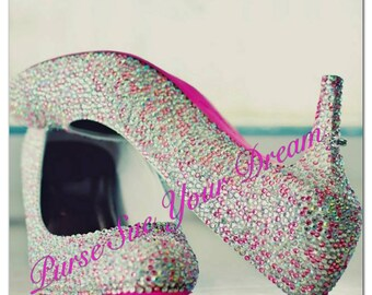 Custom Bridal Crystal Rhinestone Heels - Wedding Heels - Swarovski Crystal Rhinestone Heels - Pageant Heels - Prom Heels