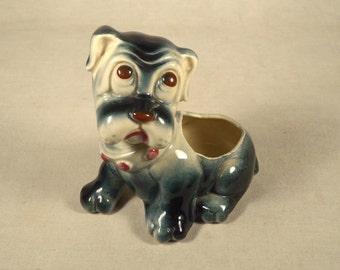 Dog Planter Boxer Figurine Blue Ceramic Dresser Caddy