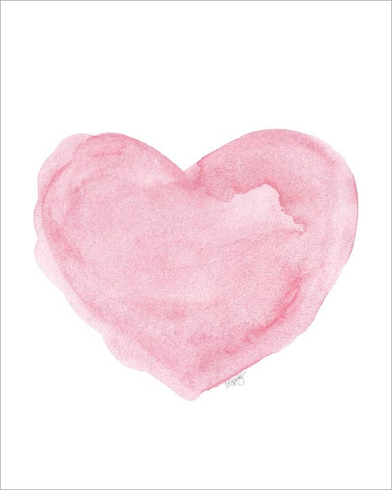 Watercolor Painting Pink Heart Art 8x10 Art By