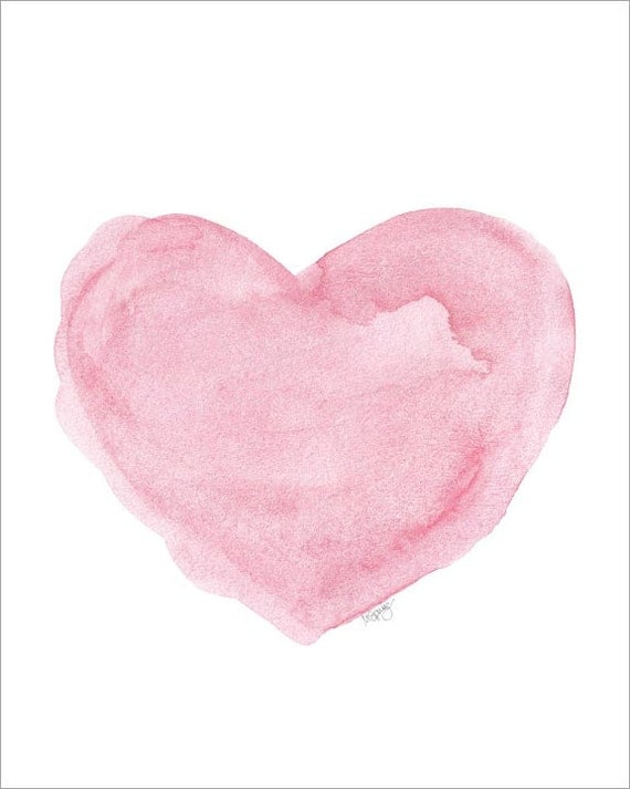 Watercolor Painting Heart Art Print Pink By Outsideinartstudio