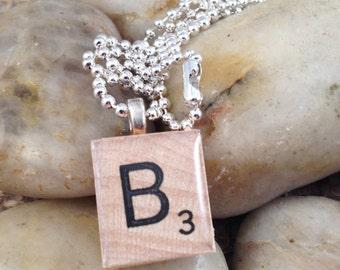 Letter Scrabble Tile Necklace