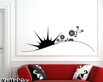 Sunrise and Flowers Vinyl Wall Decal (65 x 23 inches) BD321