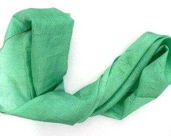 Spring Green Infinity Scarf, Loop, Indian Silk Scarf, Vintage Sari, Summer Scarves, Green Silk Circle Scarf, Green Scarf