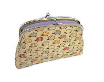 Hedgehog two section or compartments coin purse with lilac interior, colourful patterned hogs