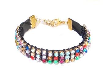 Bracelet with gems, Charm infinity, Stacked Bracelets, Colored, Jewelry bangle, Cuff gem, Rope woven bracelet friendship bracelet adjustable