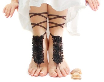 Gothic Wedding Barefoot Sandal, Organza, Goth Clothing, Steampunk, Beach Wedding Barefoot sandals, Gothic shoes, Nude Shoes