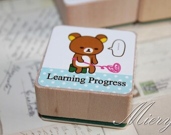 1 Piese Bear Stamp - Korean Rubber Stamp - Wood  Stamp - Cartoon - Learning Progress