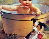 Dog and Baby Art Print, Baby in Bath,  Vintage Antique Restored Art - GREAT Bathroom Print - Bathe Baby in the Washtub  Art Print #138