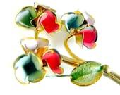 Czech Flower Brooch Handpainted Enamel Vintage Jewelry Pin Signed GF Or Gold Plated Summer Flower Brooch For Women