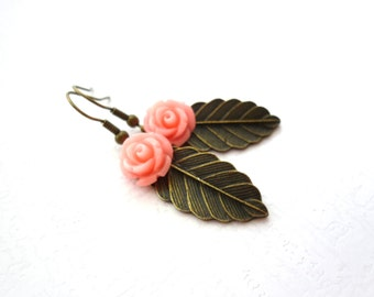 Pink Coral Flower & Leaf Earrings Bronze Leaves, Coral Roses, Leafy Bridal Jewelry, Botanical, Woodland Nature Inspired Weddings