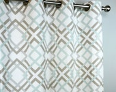Ecru Taupe Snowy Pale Blue White Winston Modern Geometric Curtains - Grommet - 84 96 108 or 120 Long by 25 or 50 Wide - Optional Blackout
