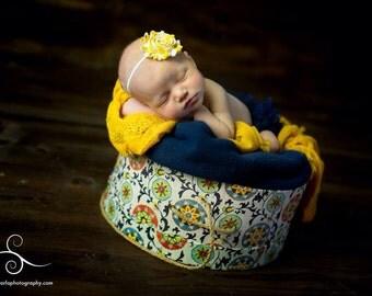Mustard Striped Baby Headband. Shabby Headband. Baby Girl Headband, Mustard Headband. Infant Headbands