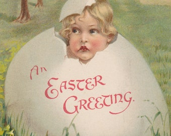 SALE Vintage Postcard, EASTER GREETING, Baby in Egg, Blossoms, Flowers, Village, Used & Stamped, 1900s, Ernest Nister