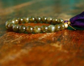 Labradorite Prayer Bracelet Mala Tassel Bracelet Yoga Jewelry Japa Mala Beads 21 Bead Heart Chakra Beaded Womens Bracelet Silk and Gemstones