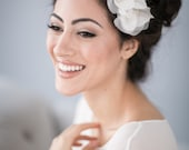 Bridal Flower Hair Comb with Silk Organza Flowers and Vintage Pearl Beads