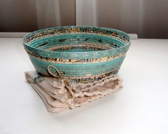 Paper Basket Bowl Small in Shades of Aqua/Teal, Recycled and Reused Paper, Handmade