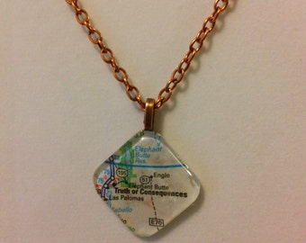 Map Of Truth Or Consequence Glass Pendant Necklace