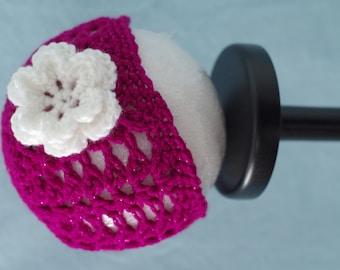 Dark Pink Sparkle Flower Hat - 3 to 6 Month Old