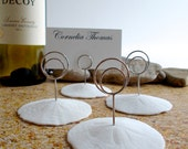 DIY Kit - 4 Pure White Sand Dollar Place Card Holders with 4 Wire Holders  - Ready-to-Go