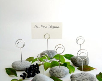 Six Shades of Gray Maine Beach Wedding Stone Dinner (or) Event Place Card Holders