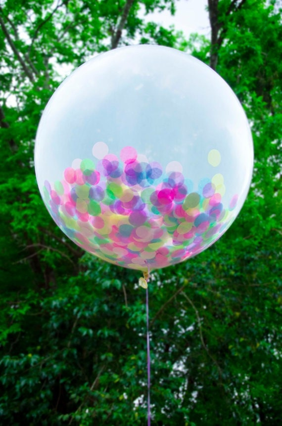 36 Inches Latex Balloon - With Pastel Multicolor Confetti