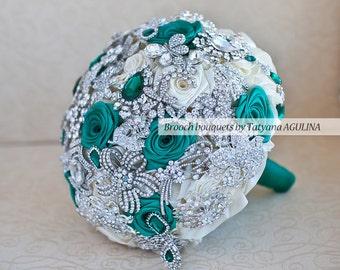 Brooch bouquet. Silver and Emerald Brooch Bouquet, Bridal bouquet.